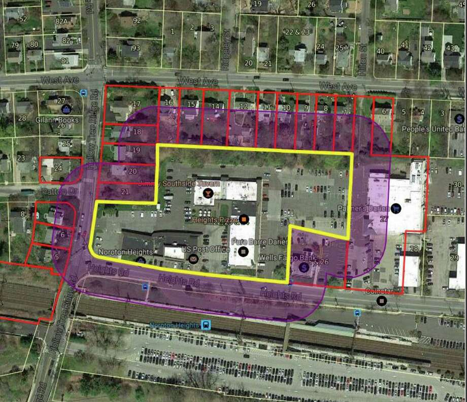 The area, inside the yellow, of the current Noroton Heights in which Noroton Heights Shopping Center, Inc., seeks to redevelop. Photo: Darien News / Contributed Photo / Darien News