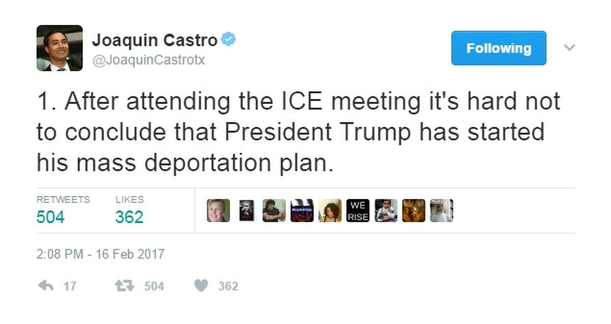 """@JoaquinCastrotx: """"1. After attending the ICE meeting it's hard not to conclude that President Trump has started his mass deportation plan."""""""