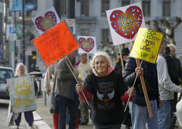 Ruth Wechsler and other Summer of Love concert supporters demonstrate in front of City Hall in San Francisco, Calif. on Thursday, Feb. 16, 2017. The supporters later attended a hearing by the Recreation and Park Commission to appeal a decision to deny a 50th anniversary concert in Golden Gate Park.