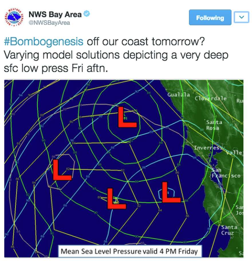 National Weather Service reported a bombogensis is headed for Northern California Feb. 17, 2017. Photo: National Weather Service