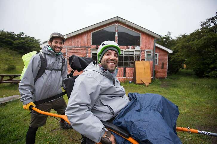 Matias Silberstein and Alvaro Silberstein (left to right) getting ready for the first day of the hike.