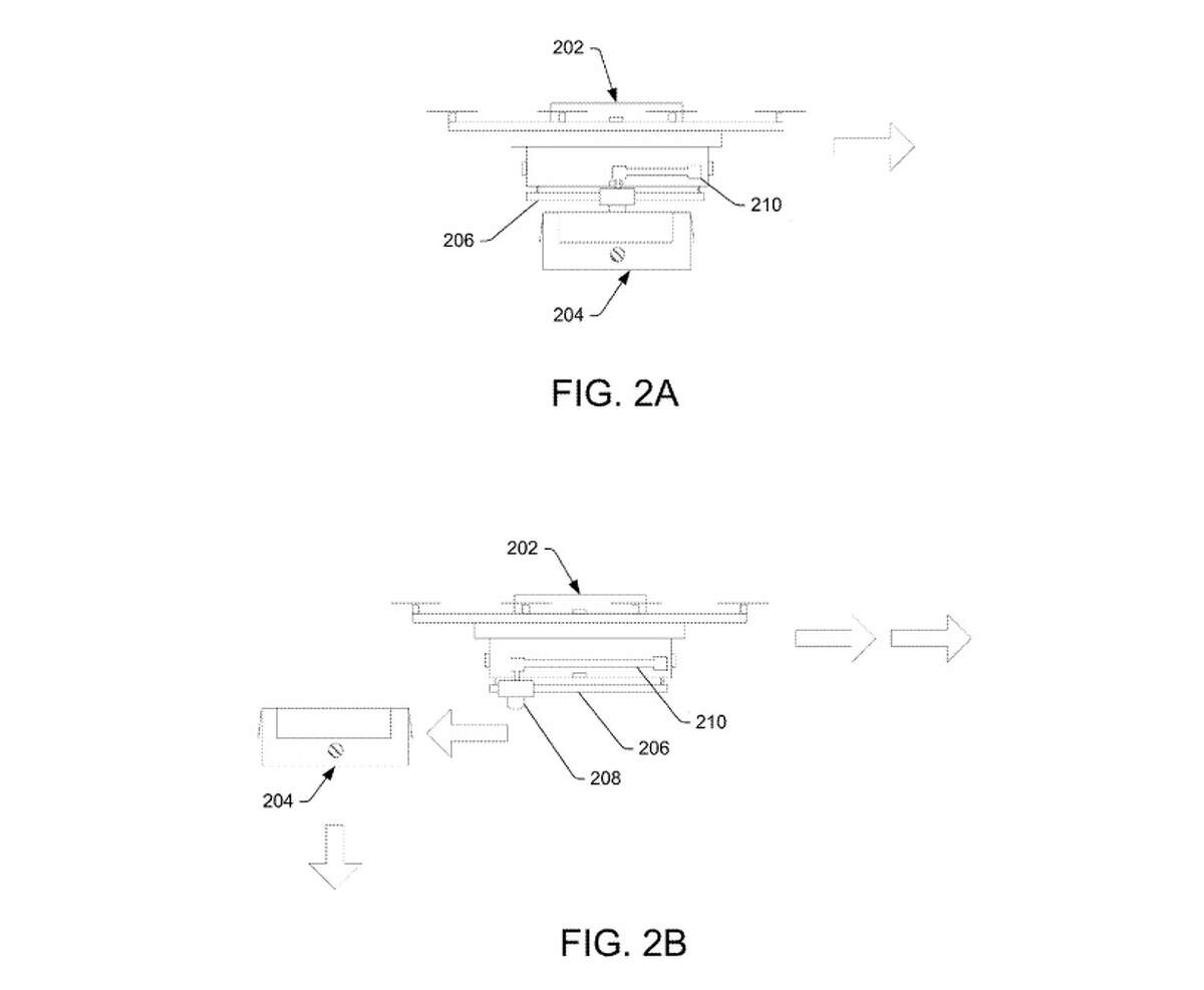 Drawings from Amazon's recently approved patent for a drone delivery system show how drones could avoid landing by dropping packages with parachutes and other gadgetry.