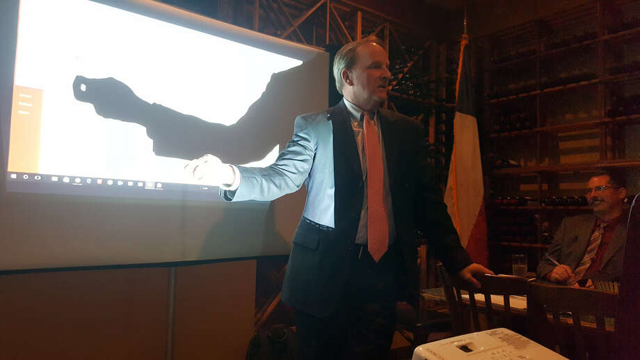 Houston city councilmember Dave Martin talks about the city's proposed pension reform plan during the Feb. 13 Lake Houston Pachyderm Club meeting at Amedeo's Italian Restaurant in Kingwood. Photo: Melanie Feuk