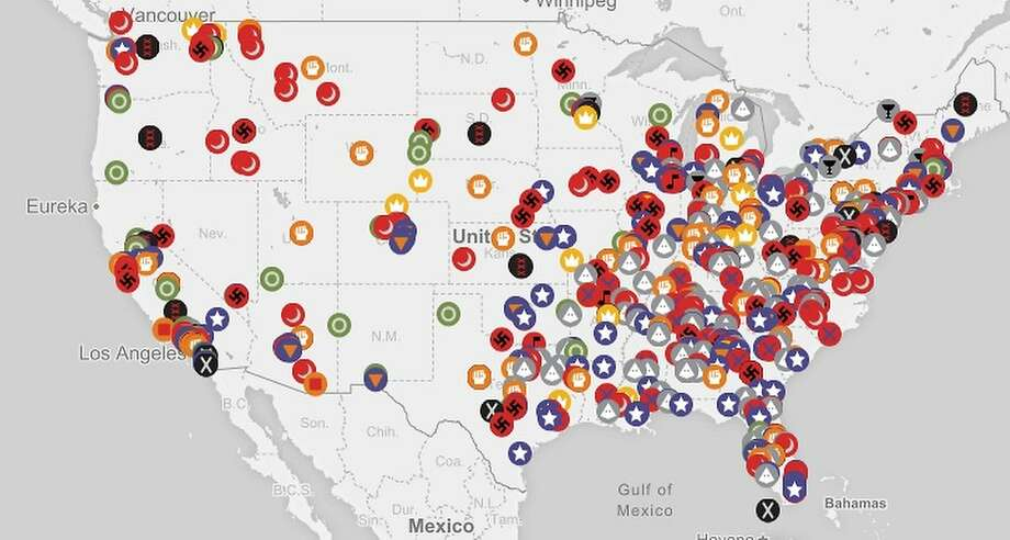 A new map compiled by the Southern Poverty Law Center shows the location of 917 hate groups in America. Next: a close-up of the Bay Area's groups. Photo: Southern Poverty Law Center