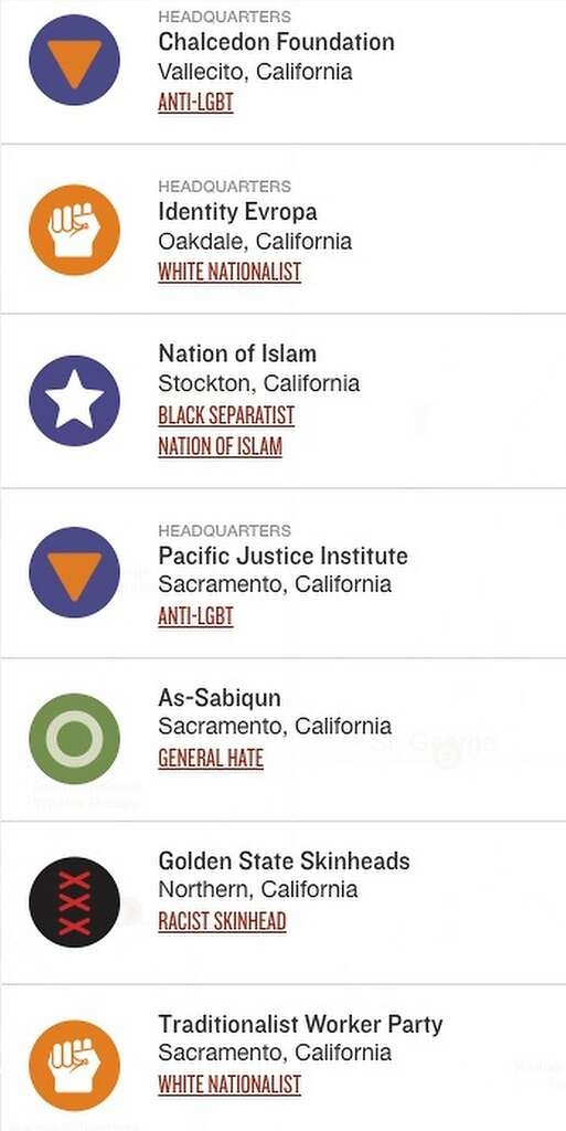 Map shows where Northern Californias hate groups can be found SFGate
