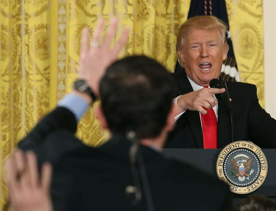 President Trump takes questions from reporters during a news conference in the East Room of the White House. Trump denied any wrongdoing by his administration in regards to Russia. Photo: Mark Wilson, Getty Images