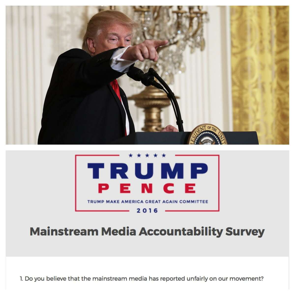 Minutes after President Trump concluded his press conference Thursday, his fundraising committee sent out a 'mainstream media accountability survey.' Click ahead to read some questions from that survey.