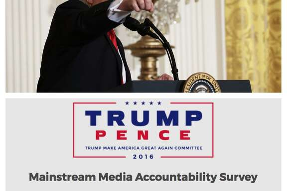Minutes after President Trump concluded his press conference Thursday, his fundraising committee sent out a 'mainstream media accountability survey.'