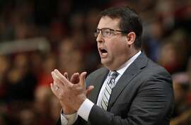 Stanford coach Jerod Haase applauds during the first half of the team's NCAA college basketball game against Colorado on Thursday, Feb. 2, 2017, in Stanford, Calif. (AP Photo/Marcio Jose Sanchez)