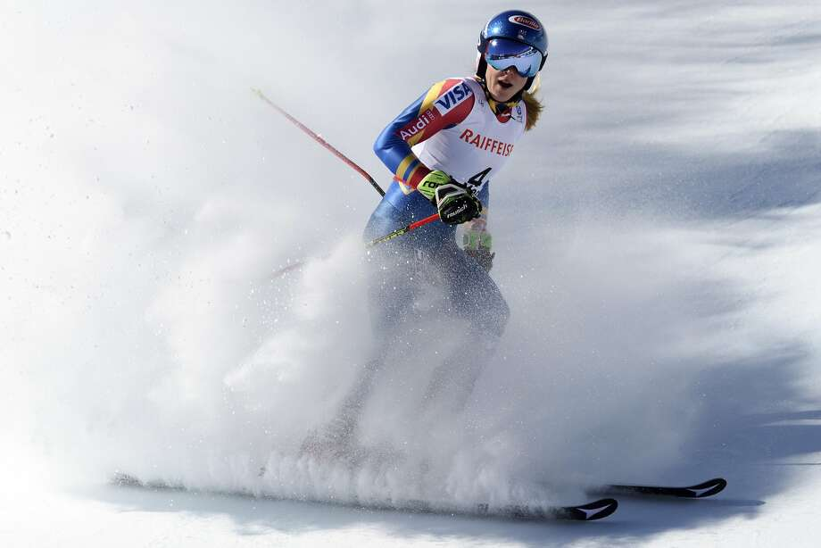Mikaela Shiffrin of the US arrives in the finish area after the second run of the women's Giant Slalom race at the 2017 Alpine Skiing World Championships in St. Moritz, Switzerland, Thursday, Feb. 16, 2017. (Gian Ehrenzeller/Keystone via AP) Photo: Gian Ehrenzeller, Associated Press