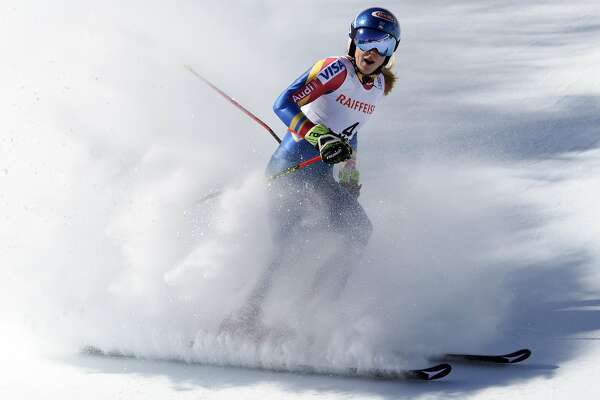 Mikaela Shiffrin of the US arrives in the finish area after the second run of the women's Giant Slalom race at the 2017 Alpine Skiing World Championships in St. Moritz, Switzerland, Thursday, Feb. 16, 2017. (Gian Ehrenzeller/Keystone via AP)