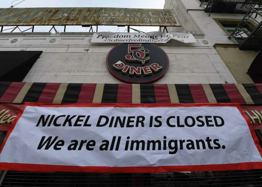 Nickel Diner restaurant in Los Angeles shows its solidarity with the Day Without Immigrants nationwide protests. From burger joints to posh eateries, scores of restaurants across the nation shut down as part of a protest with echoes across the United States against President Donald Trump's treatment of immigrants. Photo: Mark Ralston /AFP /Getty Images / AFP or licensors