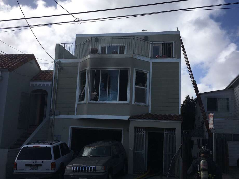 A San Francisco firefighter was injured Thursday battling a blaze at a house 100 block of Apollo Street in the city's Bayview neighborhood. Photo: San Francisco Fire Department / /