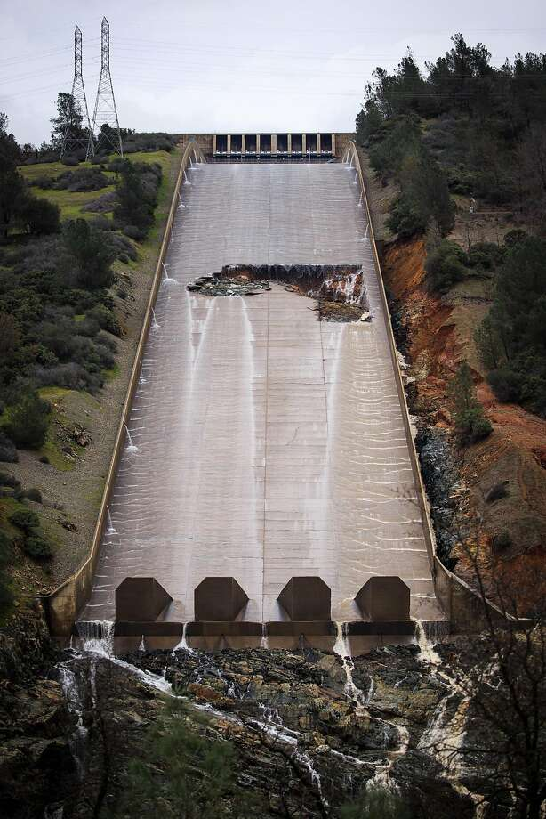 A hole was torn in the spillway of the Oroville Dam while releasing approximately 60,000 cubic-feet-second of water in advance of more rain on February 7, 2017 in Oroville, California. Photo: Max Whittaker/Prime, Special To The Chronicle