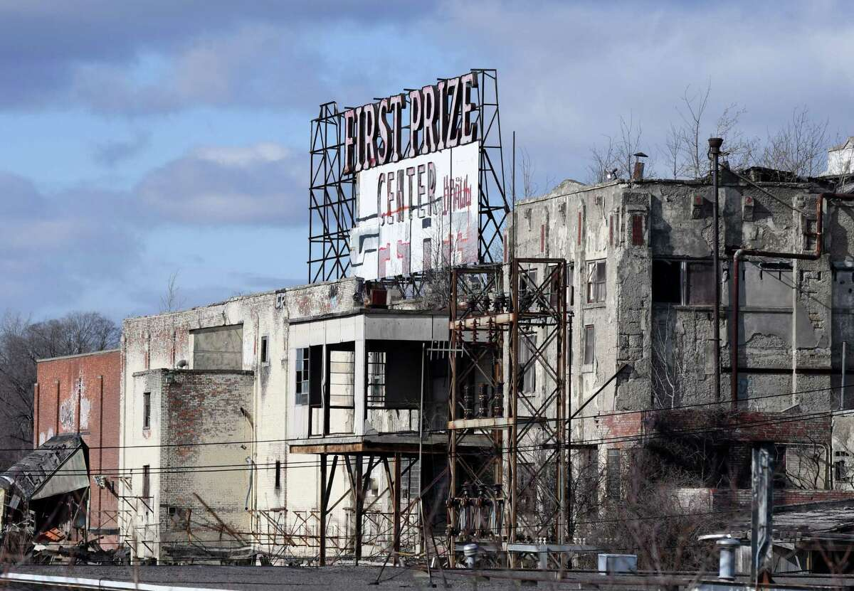 It doesn't get much uglier than the First Prize Center, the dilapidated former meat packing building in Colonie that can be seen from Interstate 90. A cleanup of the site in preparation for demolition is underway.