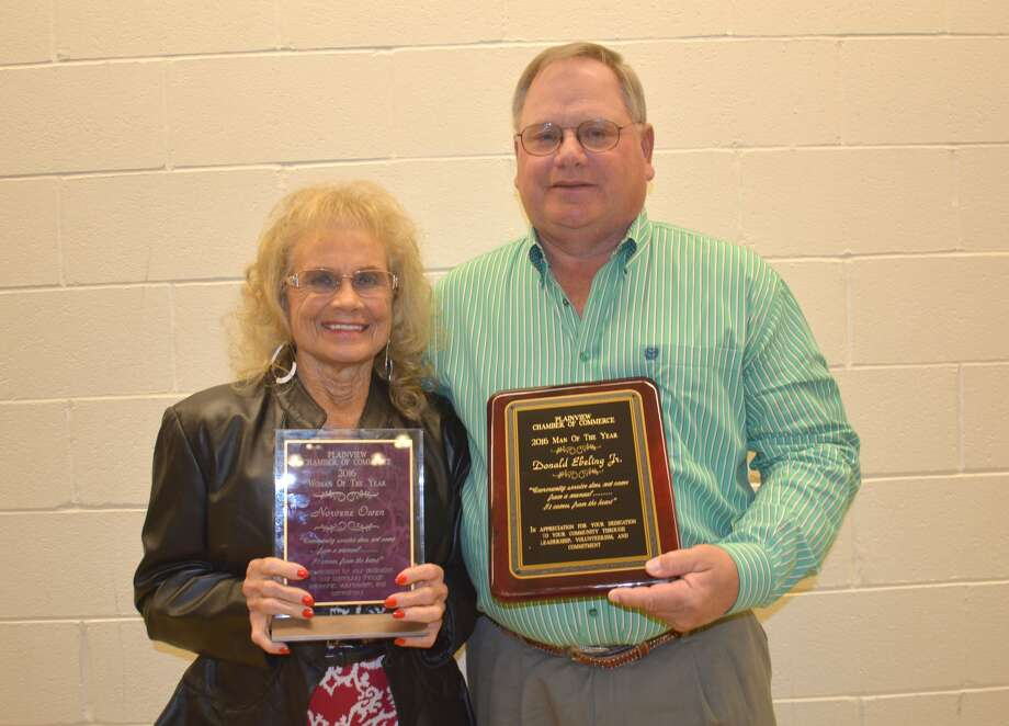 """Norvene Owen and Donald """"Donnie"""" Ebeling Jr. were honored by the Plainview Chamber of Commerce and Agriculture at its annual banquet on Thursday as Plainview's 2016 Woman and Man of the Year. Guest speaker at the banquet was Cece Smith of San Antonio, president and owner of Toolbox Studios."""