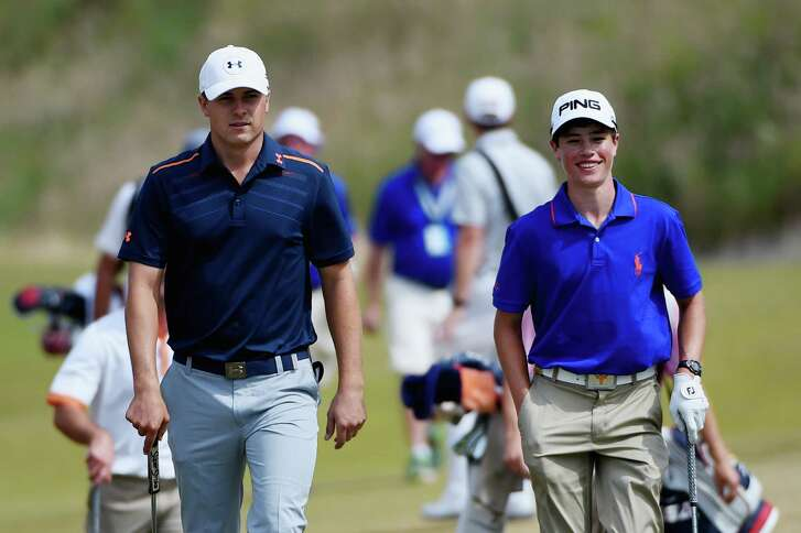 UNIVERSITY PLACE, WA - JUNE 15:  Jordan Spieth of the United States walks with Cole Hammer of the United States during a practice round prior to the start of the 115th U.S. Open Championship at Chambers Bay on June 15, 2015 in University Place, Washington.  (Photo by Ross Kinnaird/Getty Images)