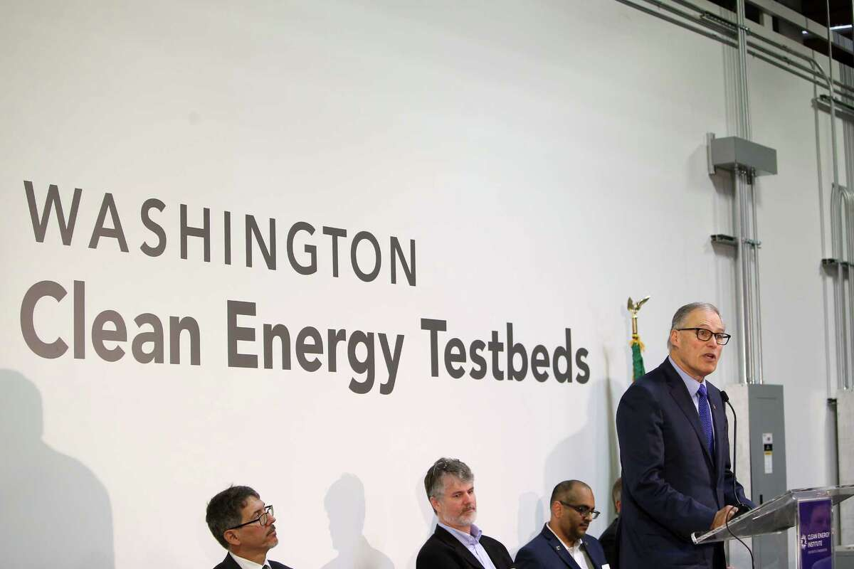 Governor Jay Inslee speaks at an opening ceremony for a new clean energy facility, the Washington Clean Energy Testbeds, at the University of Washington, Thursday, Feb. 16, 2017. Researchers at the facility will work on clean energy technology and innovation, including printable, low-cost solar cells, new battery systems and energy management software.