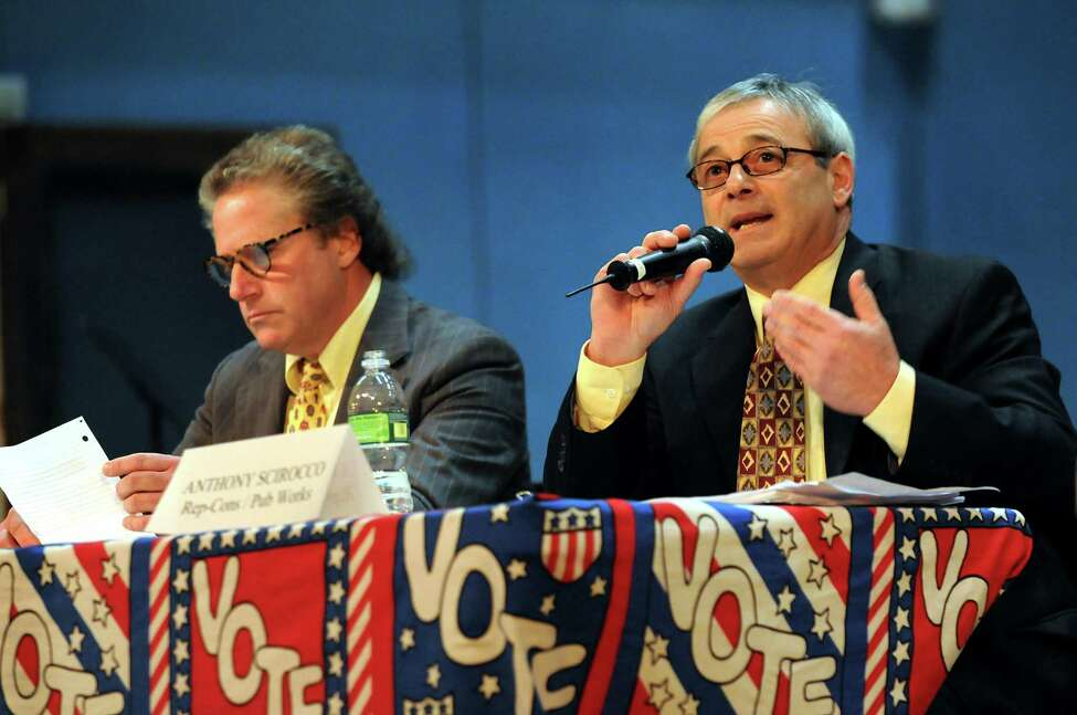Commissioner of Public Works Anthony Scirocco right, speaks during a debate with challenger Edward Miller during a forum on Thursday, Oct. 15, 2009, at Saratoga Springs High in Saratoga Springs, N.Y. (Cindy Schultz / Times Union)