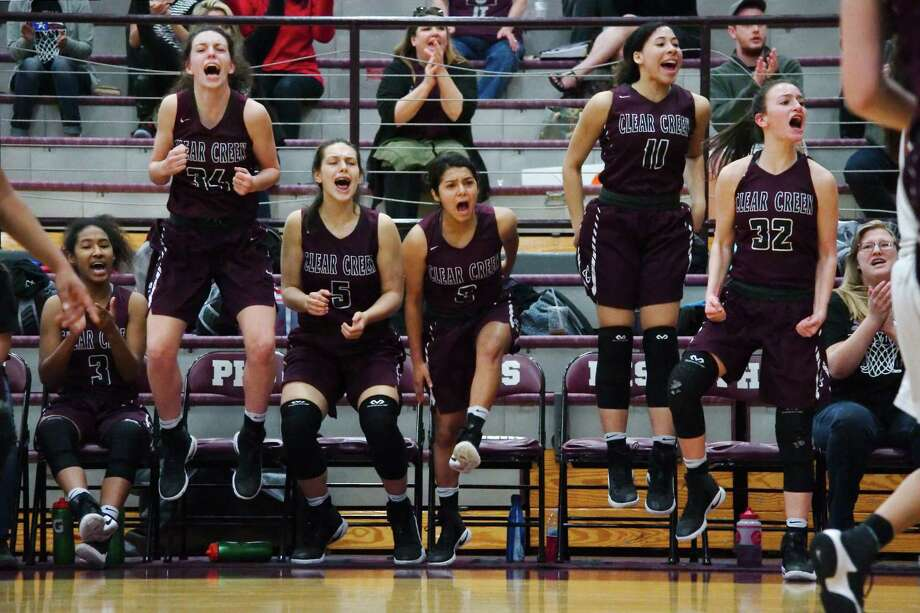 Clear Creek celebrates a basket against Dobie Thursday, Feb. 15 at Pearland High School. Photo: Kirk Sides / © 2017 Kirk Sides / Houston Chronicle