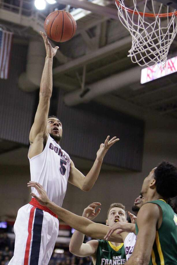 Gonzaga guard Nigel Williams-Goss (5) shoots during the first half of an NCAA college basketball game against San Francisco in Spokane, Wash., Thursday, Feb. 16, 2017. (AP Photo/Young Kwak) ORG XMIT: WAYK103 Photo: Young Kwak / FR159675 AP