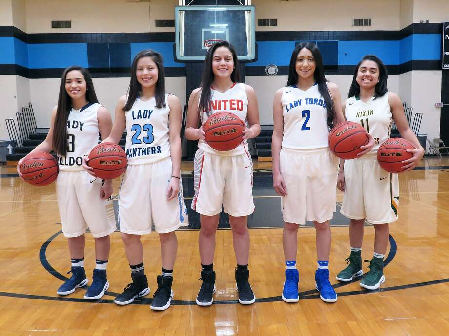 Five local girls' basketball teams are competing in the area round Friday including, form left, Valerie Lopez and Alexander, Lilly Hernandez and United South, Olivia Campero and United, Georgina Benavides and Cigarroa and Alysha Cedillo and Nixon. Photo: Cuate Santos /Laredo Morning Times / Laredo Morning Times