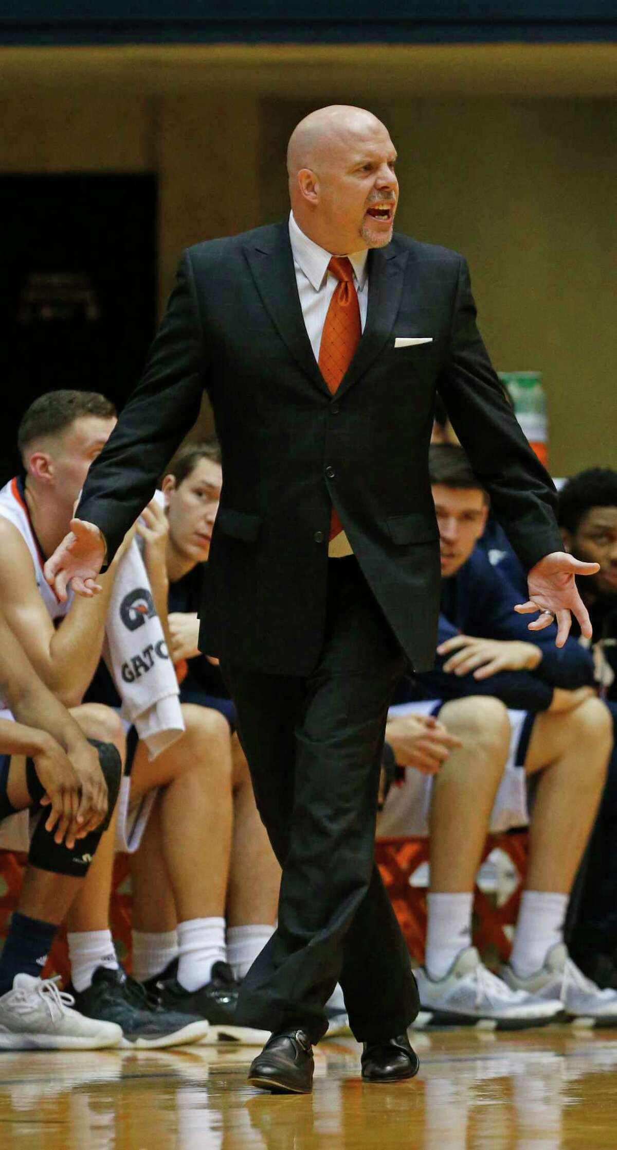 UTSA head coach Steve Henson yells at officials during their game against Southern Mississippi on Thursday, February 9 2017 at Convocation Center.