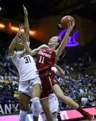 California's Kristine Anigwe can't stop Stanford's Alanna Smith from scoring in 4th quarter of Stanford's 72-66 win during PAC 12 women's basketball game at Haas Pavilion in Berkeley, Calif., on Thursday, February 16, 2017.