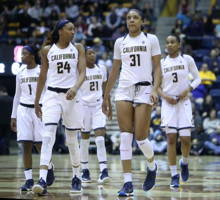 California's Kristine Anigwe (31) and Courtney Range during 4th quarter of 72-66 loss to Stanford during PAC 12 women's basketball game at Haas Pavilion in Berkeley, Calif., on Thursday, February 16, 2017.