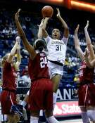 California's Kristine Anigwe shoots against Stanford during 72-66 loss  during PAC 12 women's basketball game at Haas Pavilion in Berkeley, Calif., on Thursday, February 16, 2017.