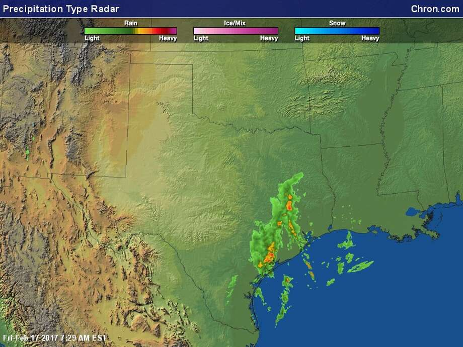 A screenshot of a National Weather Service radar image of Texas on Feb. 17, 2017. The NWS issued a hazardous weather outlook for the Houston area, warning of scattered thunderstorms and heavy rain. Photo: File/National Weather Service