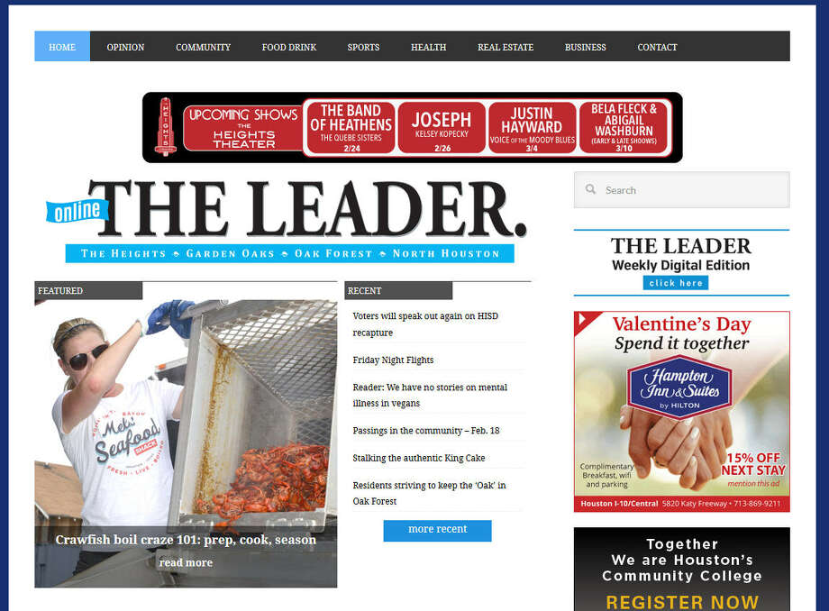 This is a screen shot of the website for The Leader, a decades-old weekly publication serving northwest Houston. The website has recently been confused with an allegedly fake news site, Houston Leader, Feb. 17, 2017.Keep clicking to see a gallery of fake news stories that have fooled people: