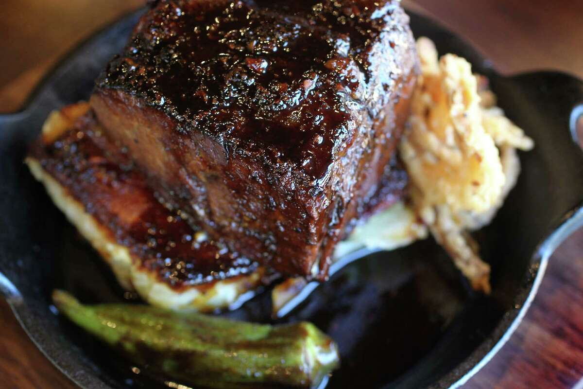 12-Hour Beef Short Rib with black pepper sauce and potato gratin at Bosscat Kitchen & Libations, 4310 Westheimer.