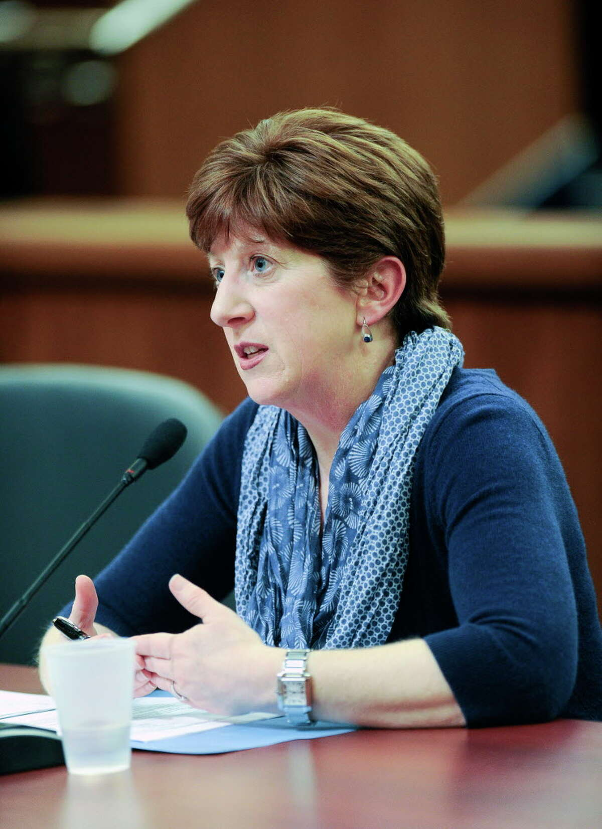 Albany Mayor Kathy M. Sheehan, testifies during a joint legislative budget hearing on local government funding from the state on Monday, Jan. 30, 2017, in Albany, N.Y. (AP Photo/Hans Pennink)