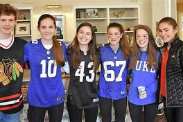 Max Gifford, left, Olivia Sheridan, Julia Sulkowski, Holly Knight, Vivi Reeves, and Michelle LaBadie from the First Presbyterian Church of New Canaan served up pasta fagioli soup on Souperbowl Sunday and raised $617 for the New Canaan Food Pantry.