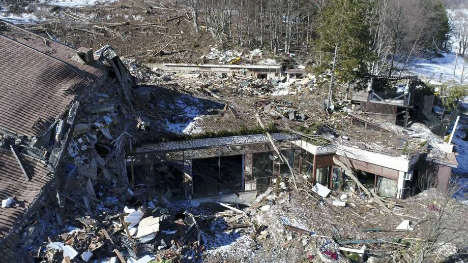 This frame taken from an aerial video shows the rubble of the Hotel Rigopiano which was buried by an avalanche in January, near Farindola, central Italy, Thursday, Feb. 16, 2017. The avalanche buried a hotel in central Italy under 60,000 tons of snow leaving 29 dead. (La Repubblica via AP) Photo: AP