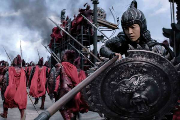 """This image released by Legendary Pictures and Universal Pictures shows Lu Han as Peng Yong in a scene from """"The Great Wall.""""  (Legendary Pictures and Universal Pictures via AP)"""