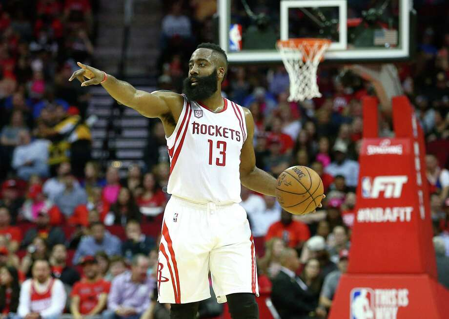 Houston Rockets guard James Harden (13) motions to teammates during the second quarter of an NBA game at the Toyota Center Friday, Jan. 20, 2017, in Houston. ( Jon Shapley / Houston Chronicle ) Photo: Jon Shapley, Staff / © 2017  Houston Chronicle