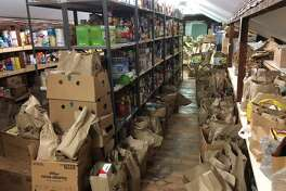 Bags of food fill the Gillespie Center's Food Pantry thanks to a food drive at the Stop & Shop in Westport organized by Sunrise Rotary on Feb. 4.