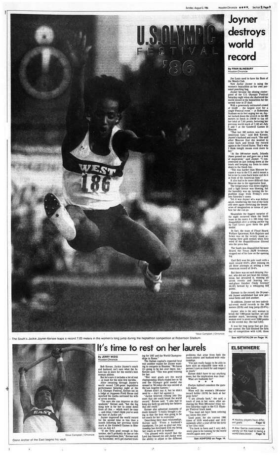 Houston Chronicle inside page - August 3, 1986 - section 2, page 9.  U.S. OLYMPIC FESTIVAL '86  Joyner destroys world record.  It's time to rest on her laurels Photo: HC Staff / Houston Chronicle