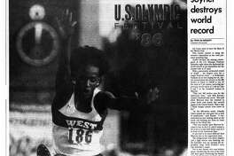 Houston Chronicle inside page - August 3, 1986 - section 2, page 9.  U.S. OLYMPIC FESTIVAL '86  Joyner destroys world record.  It's time to rest on her laurels
