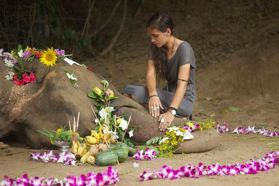 Duffield kneels beside Bow during  a Buddhist burial ceremony. Photo: Mary Lee Grant