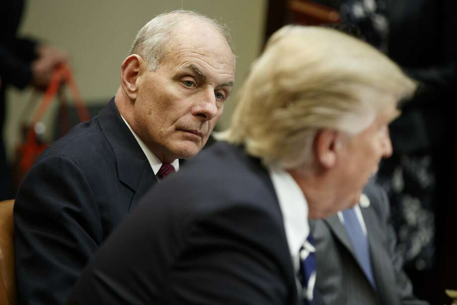 Homeland Security Secretary John Kelly, left, listens as President Trump speaks during a meeting on cybersecurity at the White House on Jan. 31. Photo: Evan Vucci, Associated Press