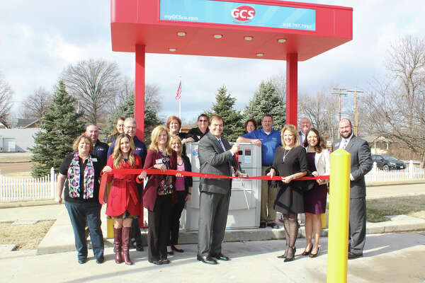 GCS Credit Union recently celebrated the opening of their newest ATM at 216 W. Clay Street in Troy, Illinois. Dawn Mushill, Troy/Maryville/St. Jacob/Marine Chamber of Commerce Executive Director, presided over the ribbon cutting, giving GCS Credit Union a warm welcome to the Troy community.