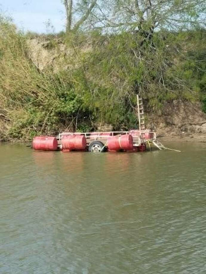 A makeshift ferry, shown above, was used in an attempt to smuggle marijuana in the U.S. Feb. 16, 2017 in Brownsville. Photo: Courtesy/U.S. Customs And Border Protection