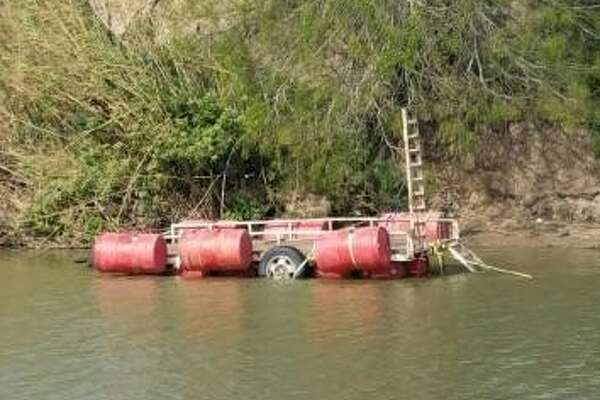 A makeshift ferry, shown above, was used in an attempt to smuggle marijuana in the U.S. Feb. 16, 2017 in Brownsville.