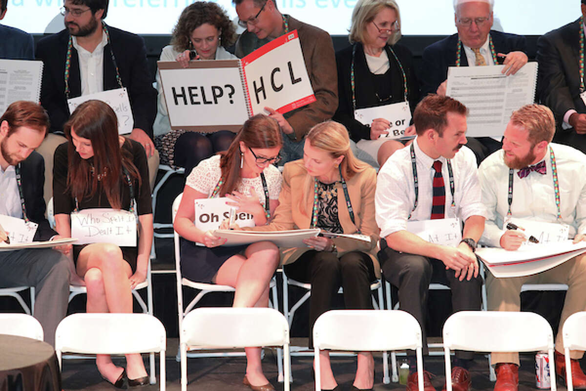 Spelling teams in action during preliminary rounds. >>Click to see more photos from the event, and to see the strange words that have made champions at Scripps National Spelling Bee over the years.