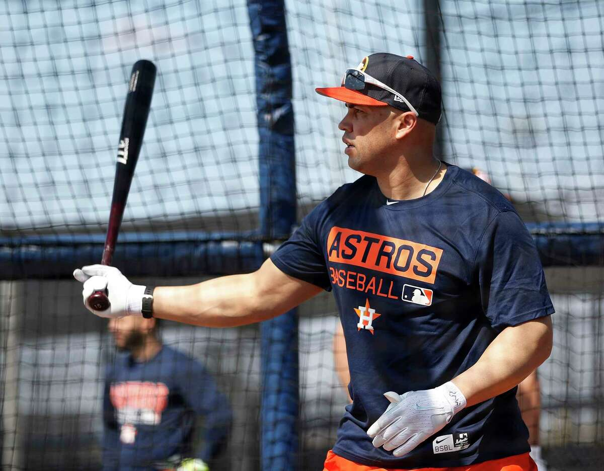 Houston Astros designated hitter Carlos Beltran takes batting practice during spring training at The Ballpark of the Palm Beaches, in West Palm Beach, Florida, Friday, February 17, 2017.