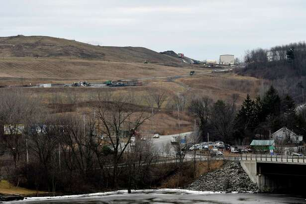 View of the Colonie Landfill from across the Mohawk River on Friday, Jan. 20, 2017, in Colonie, N.Y. (Will Waldron/Times Union)