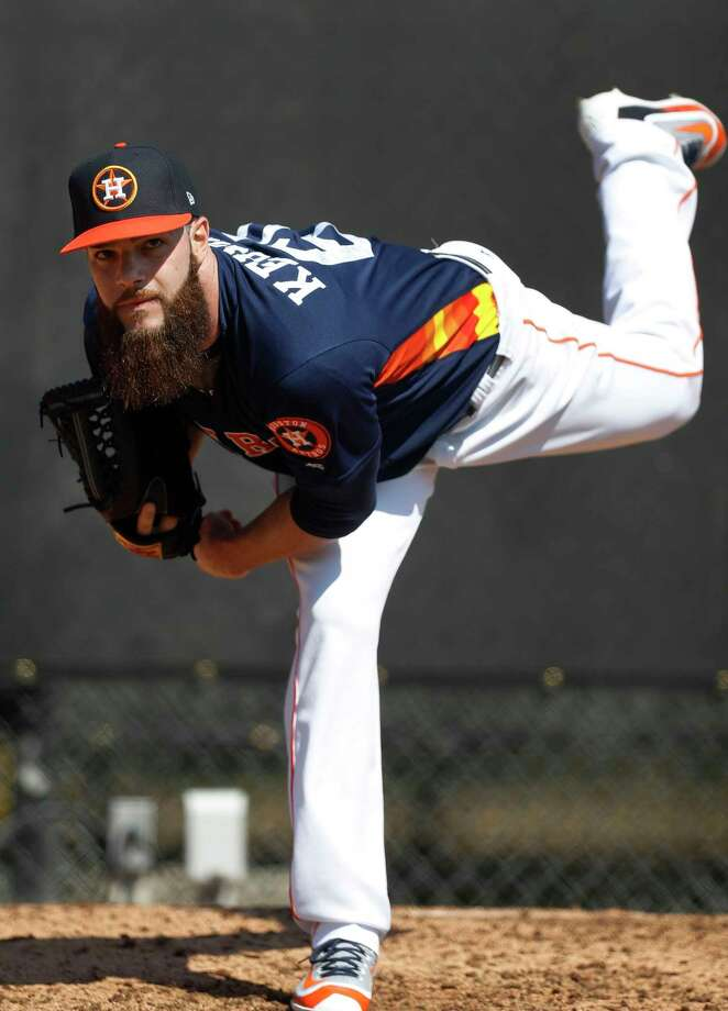 Houston Astros starting pitcher Dallas Keuchel throws off the mound during spring training at The Ballpark of the Palm Beaches, in West Palm Beach, Florida, Friday, February 17, 2017. Photo: Karen Warren, Houston Chronicle / 2017 Houston Chronicle